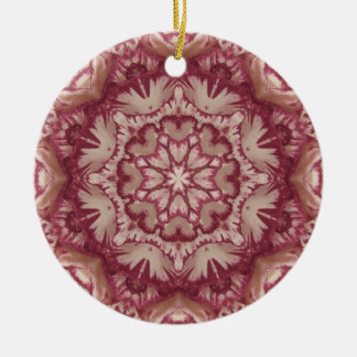 Muted Burgundy and Ivory Victorian Floral Round Ceramic Decoration