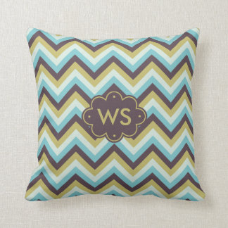 Muted Gold Turquoise Chevron Monogram Pillow