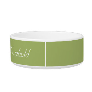 """Muted-Green """"Head of Household"""" Cat Food Dish Pet Bowl"""