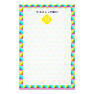 Muted Pink Aqua Yellow 3D Look Cubes Stationery Design