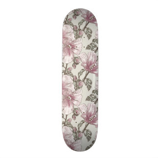 Muted Pink Hibiscus Flowers Pattern Skate Board