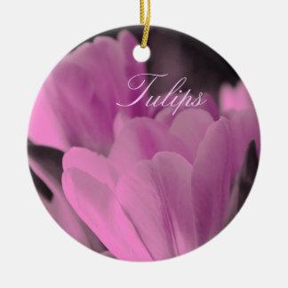 Muted Pink Tulips Round Ceramic Decoration