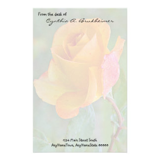 Muted Yellow Rose Personalized Stationery