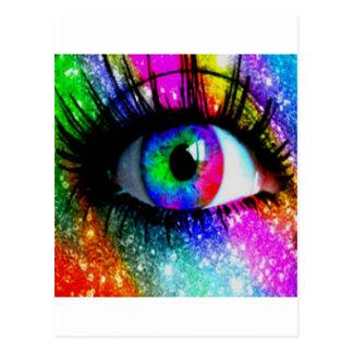 Muti coloured eye postcard