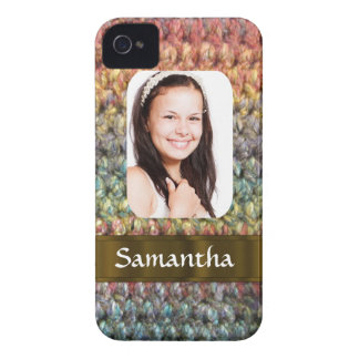 Muticolored wool photo template iPhone 4 case