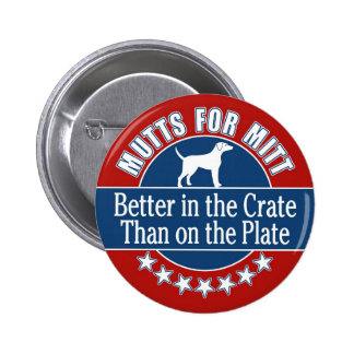 Mutts for Mitt - In the Crate Not on the Plate 6 Cm Round Badge