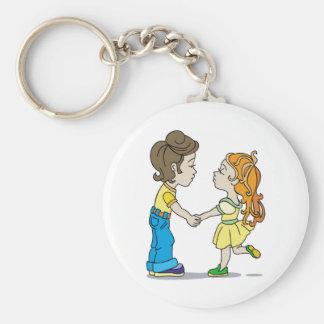 Mutual sympathy basic round button key ring