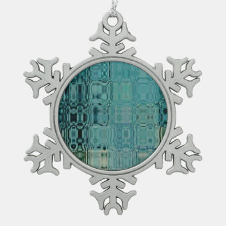 MVM Glass BlueGreen Snowflake Pewter Christmas Ornament