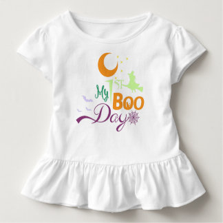 My 1 st Boo day   Ghosts cat witch Spider web bot Toddler T-Shirt