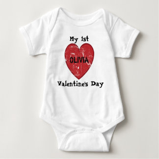 My 1st Valentine's Day Personalized Name Baby Bodysuit