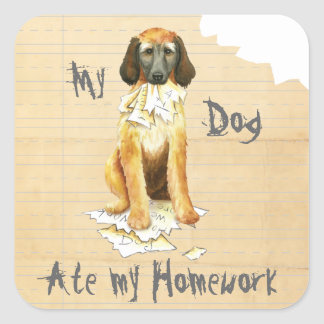 My Afghan Hound Ate my Homework Square Sticker