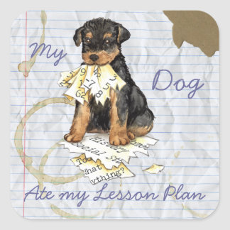 My Airedale Ate My Lesson Plan Square Sticker