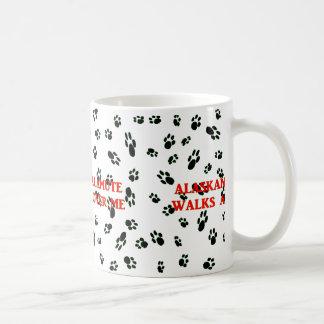 my alaskan malamute walks on me coffee mug