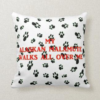 my alaskan malamute walks on me cushion