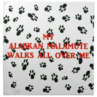 my alaskan malamute walks on me napkin