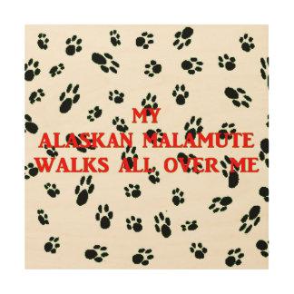 my alaskan malamute walks on me wood print