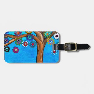 MY ALLY TREE OF LIFE WHIMSICAL PAINTING LUGGAGE TAG