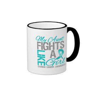 My Aunt Fights Like a Girl Ovarian Cancer Ringer Mug