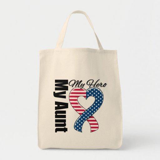 My Aunt My Hero Patriotic USA Ribbon Tote Bag