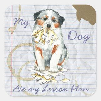 My Aussie Ate My Lesson Plan Square Sticker