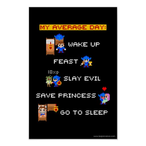 My Average Day (8-bit RPG) Posters