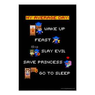 My Average Day 8-bit RPG Posters
