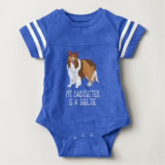 """My Babysitter is a Sheltie"" Baby Bodysuit Shirt"