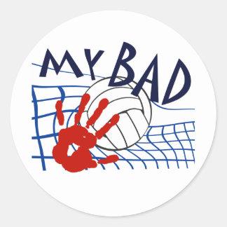 My Bad Volleyball Net Classic Round Sticker