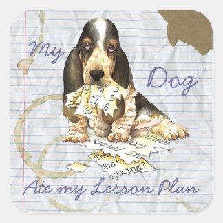 My Basset Ate My Lesson Plan Square Sticker