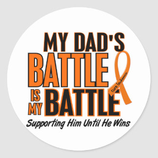 My Battle Too Dad Leukemia Classic Round Sticker