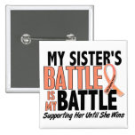 My Battle Too Sister Uterine Cancer 15 Cm Square Badge