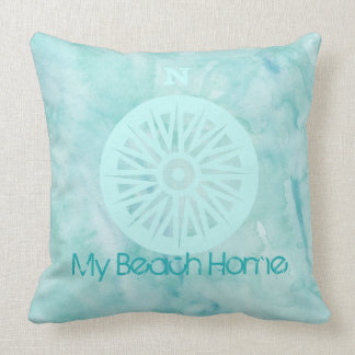 My Beach Home Watercolor Pillow