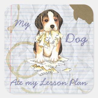 My Beagle Ate My Lesson Plan Square Sticker