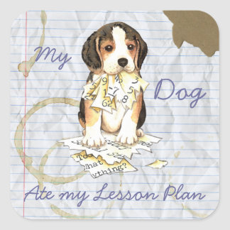My Beagle Ate My Lesson Plan Square Stickers