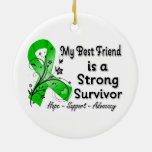 My Best Friend is a Strong Survivor Green Ribbon Christmas Tree Ornaments