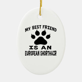 My Best Friend Is An European Shorthair Cat Ceramic Oval Decoration