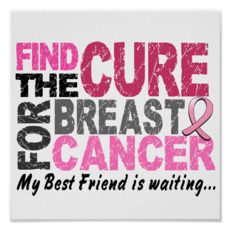 My Best Friend is Waiting Breast Cancer Poster