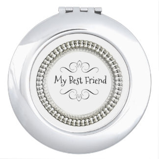 """ My Best Friend"" Round* Silver& Black  Ornate Mirrors For Makeup"