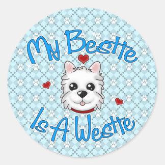 """""""My Bestie Is A Westie"""" BOY Stickers"""