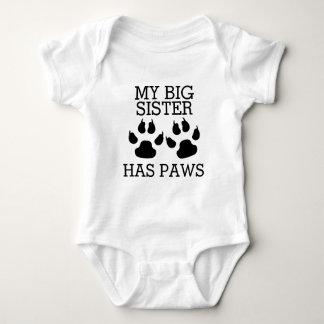 My Big Sister Has Paws Baby Bodysuit
