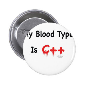 My blood type is c++ pinback buttons