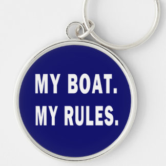 My Boat. My Rules - funny boating Silver-Colored Round Key Ring