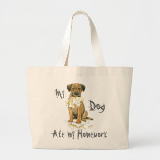 My Border Terrier Ate My Homework Large Tote Bag