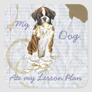My Boxer Ate My Lesson Plan Square Sticker