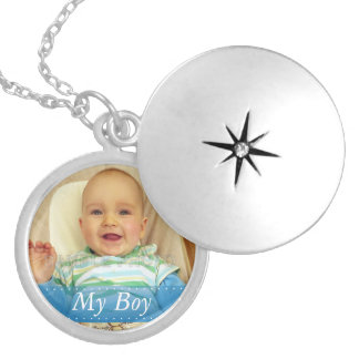 My Boy Blue Ribbon Personalized Locket Necklace