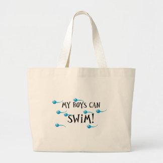 my boys can swim jumbo tote bag