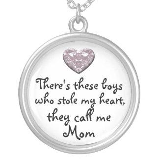My boys stole my heart Mom necklace