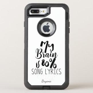 My Brain is 80% Song Lyrics Black Personalized OtterBox Defender iPhone 8 Plus/7 Plus Case