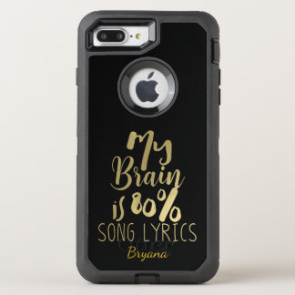 My Brain is 80% Song Lyrics Gold Personalized OtterBox Defender iPhone 8 Plus/7 Plus Case
