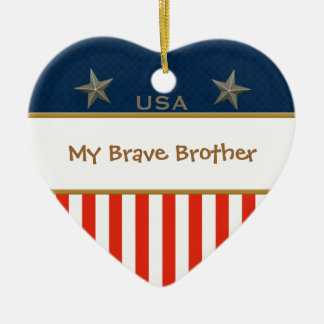 My Brave Brother Patriotic Heart Frame Ceramic Heart Decoration